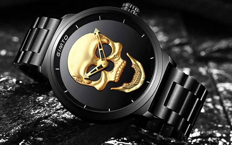 Orologio da polso da uomo con teschio 3d, in acciaio inox, quadrante grande, vintage, al quarzo G_00222