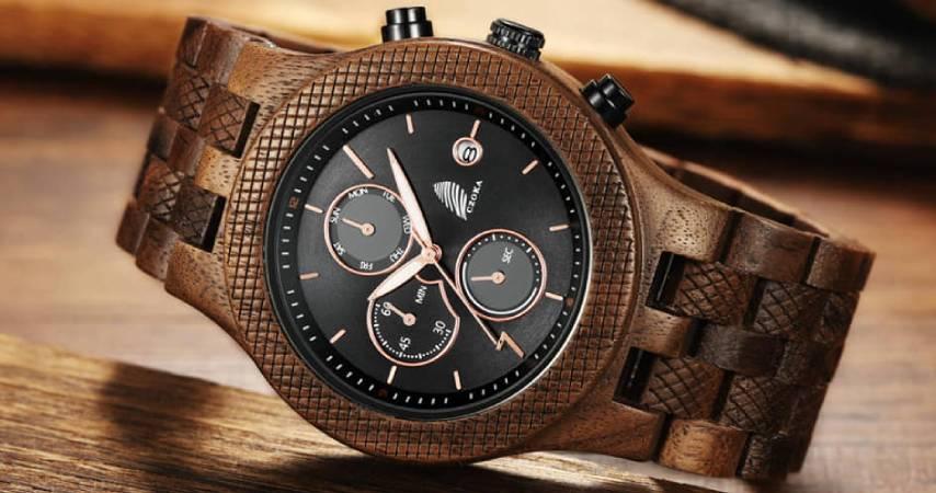Orologio da Uomo CZOKA: Cronografo Al quarzo con Cinturino in Legno